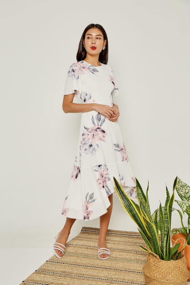 *Online Exclusive* Perrine Floral Drape Hem Midi Dress in White