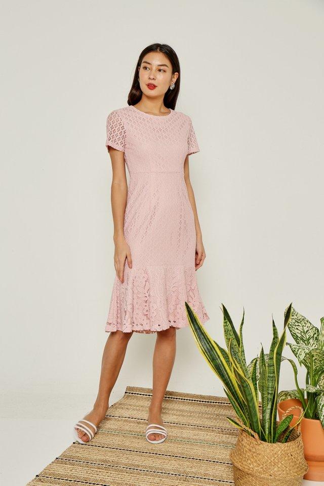 *Online Exclusive* Sydnea Lace Midi Ruffles Hem Dress in Pink