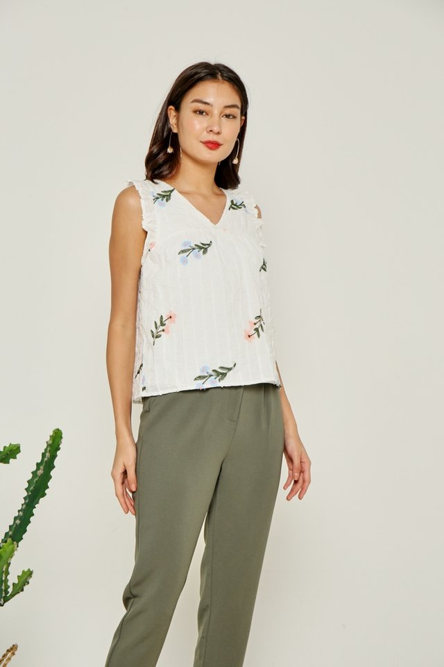 Mara Floral Embroidery Ruffles Top in White