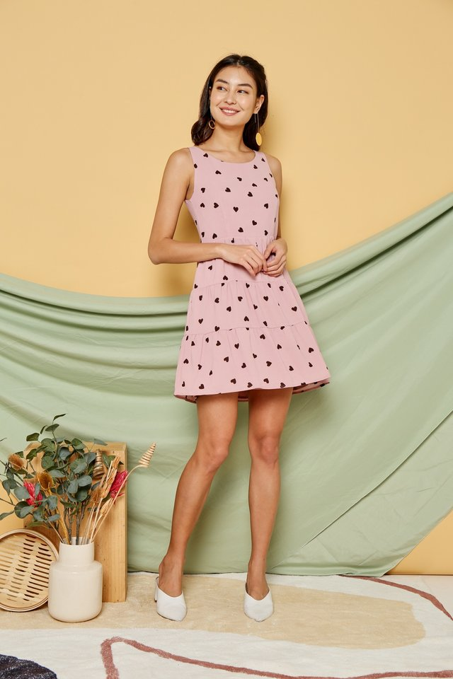Alina Heartshaped Babydoll Dress in Pink