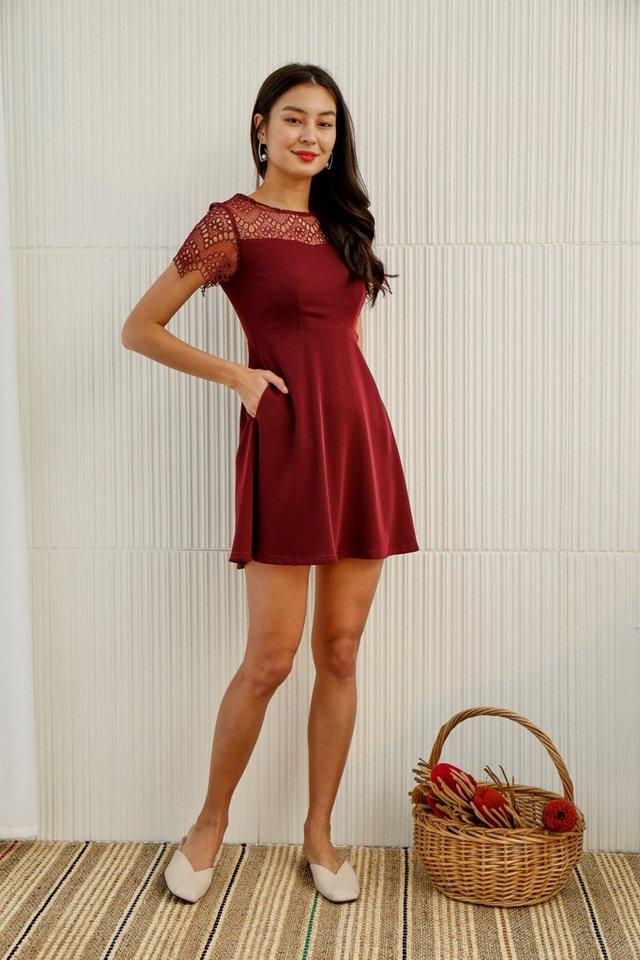 Giana Crochet Skater Dress in Wine