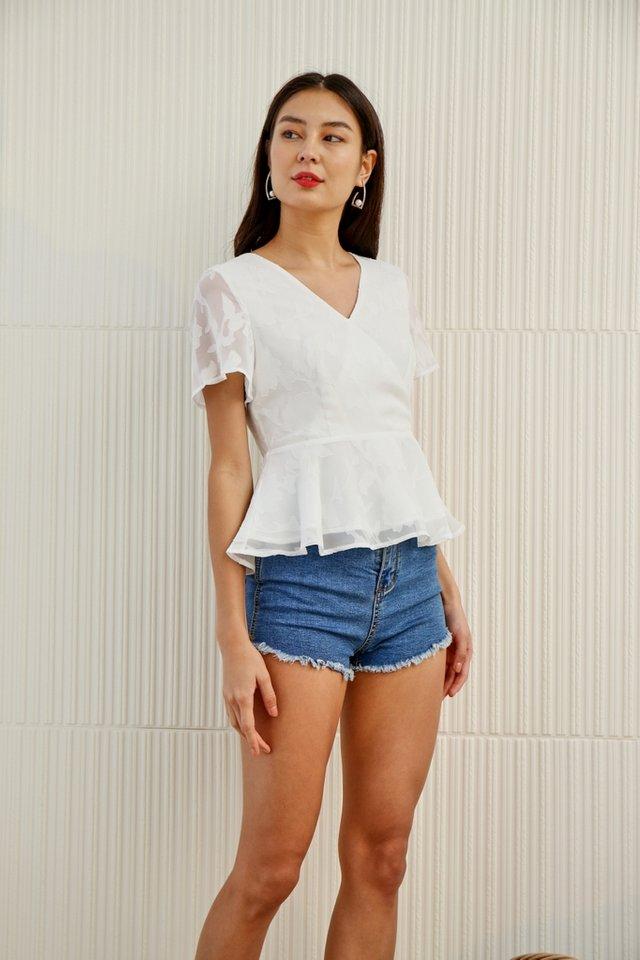 Jenna Floral Jacquard Peplum Top in White