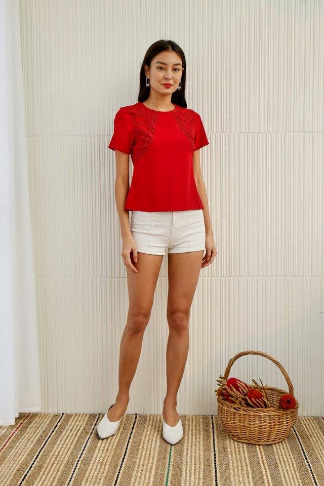 *Online Exclusive* Larissa Crochet Sleeved Top in Red