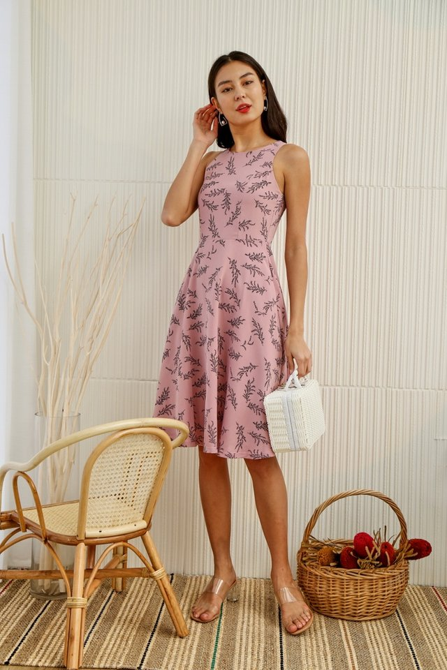 Fae Willow Flare Midi Dress in Pink
