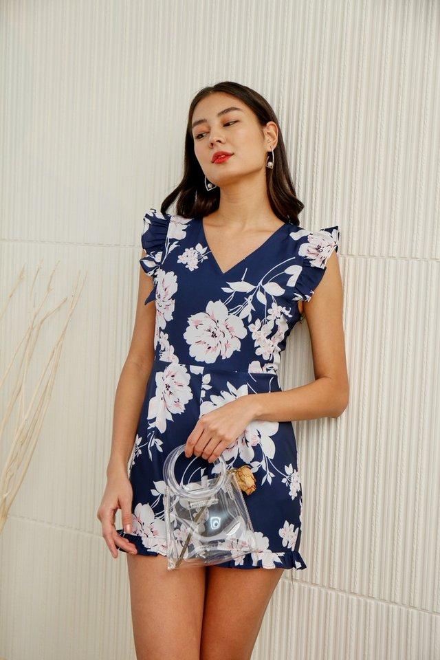 Kalina Floral Ruffles Sleeved Romper in Navy