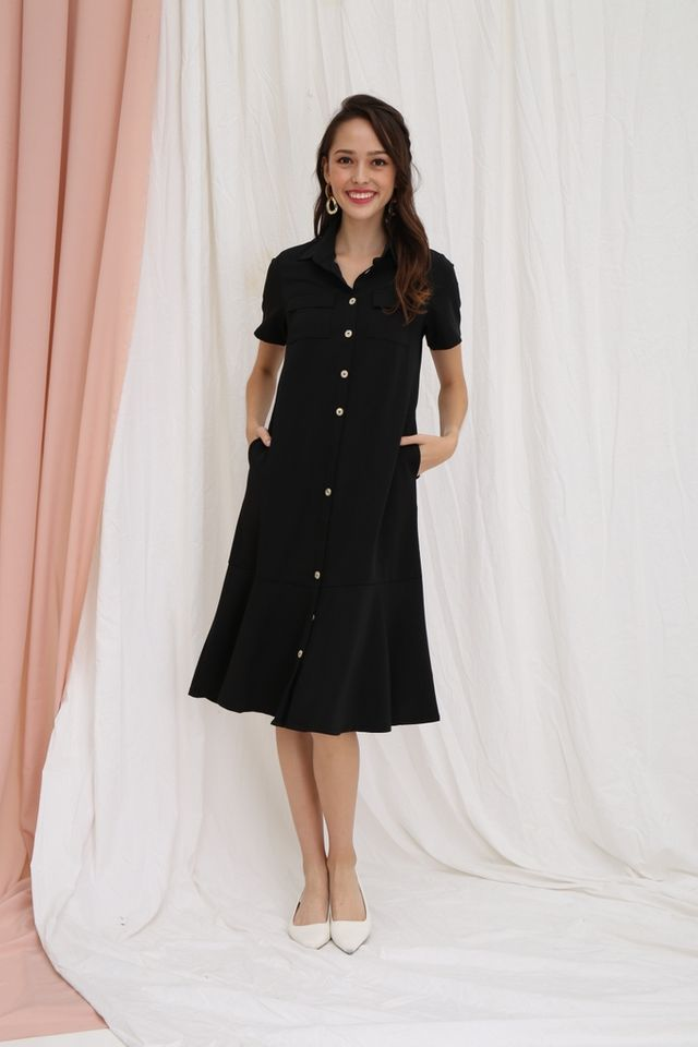 Nicolle Button Shirt Dropwaist Dress in Black