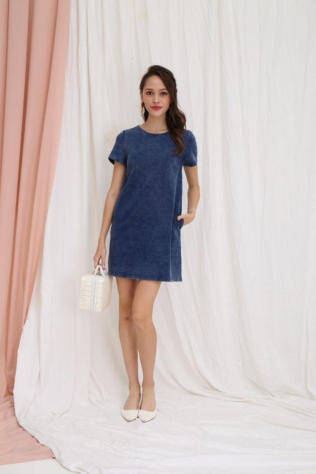 Berenice Denim Shift Dress in Mid-Wash