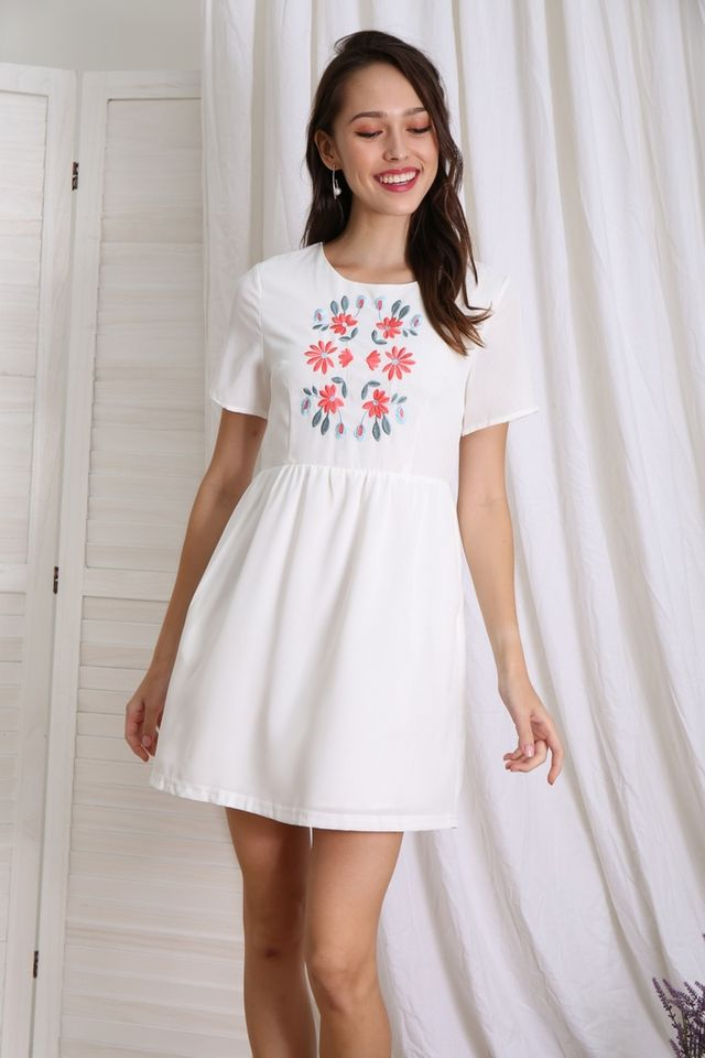 Yanna Floral Embroidered Babydoll Dress in White