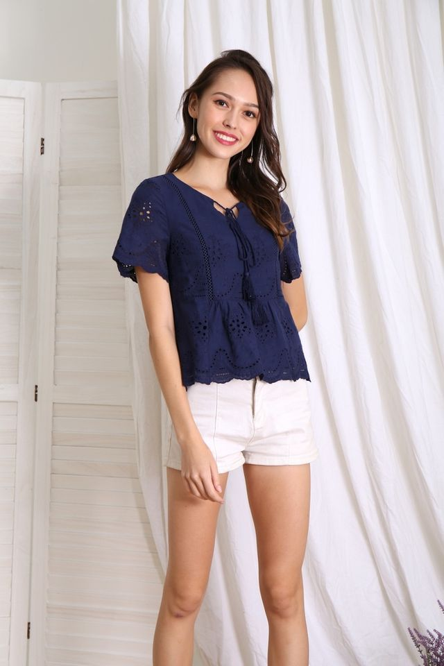 Liana Bohemian Eyelet Top in Navy