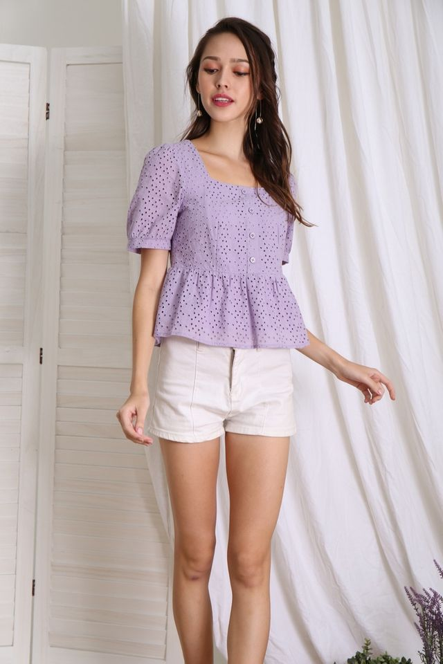 Delaney Button Babydoll Top in Lilac
