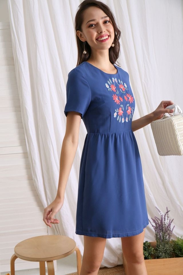 Yanna Floral Embroidered Babydoll Dress in Denim Blue