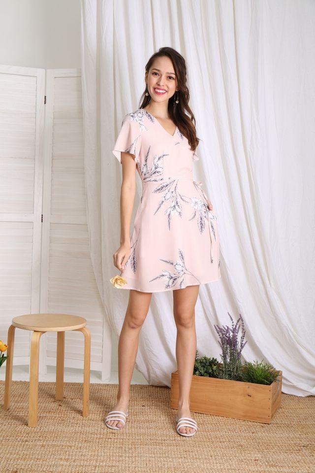 Karee Floral Faux Wrap Dress in Apricot