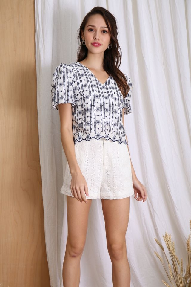 Elaina Broderie Puff Sleeves Top in White