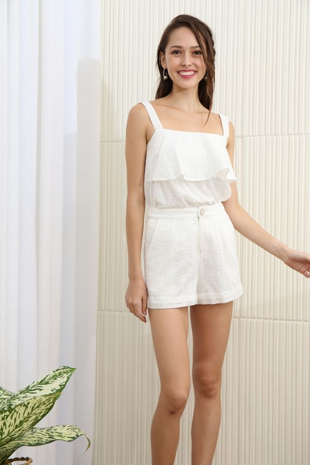 Alisson Eyelet Pocket Short in White