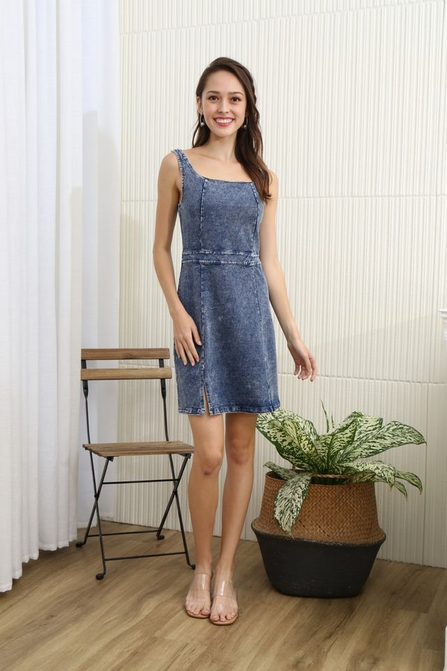 Isabella Square Neck Denim Dress