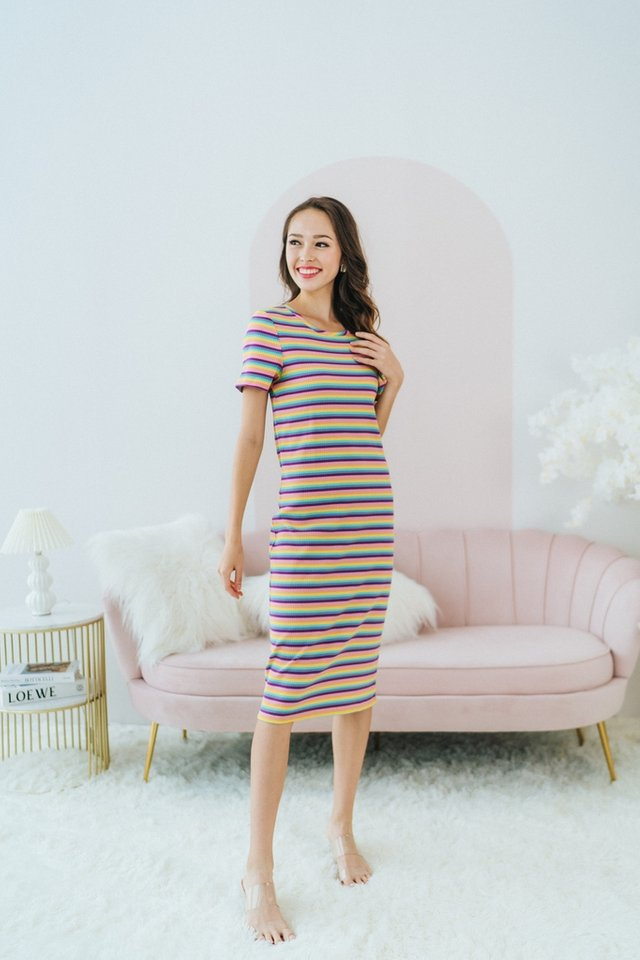 Viviana Rainbow Ribbed Midi Dress in Purple