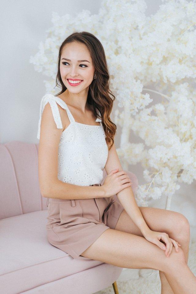 Nina Ribbon Floral Eyelet Top in White