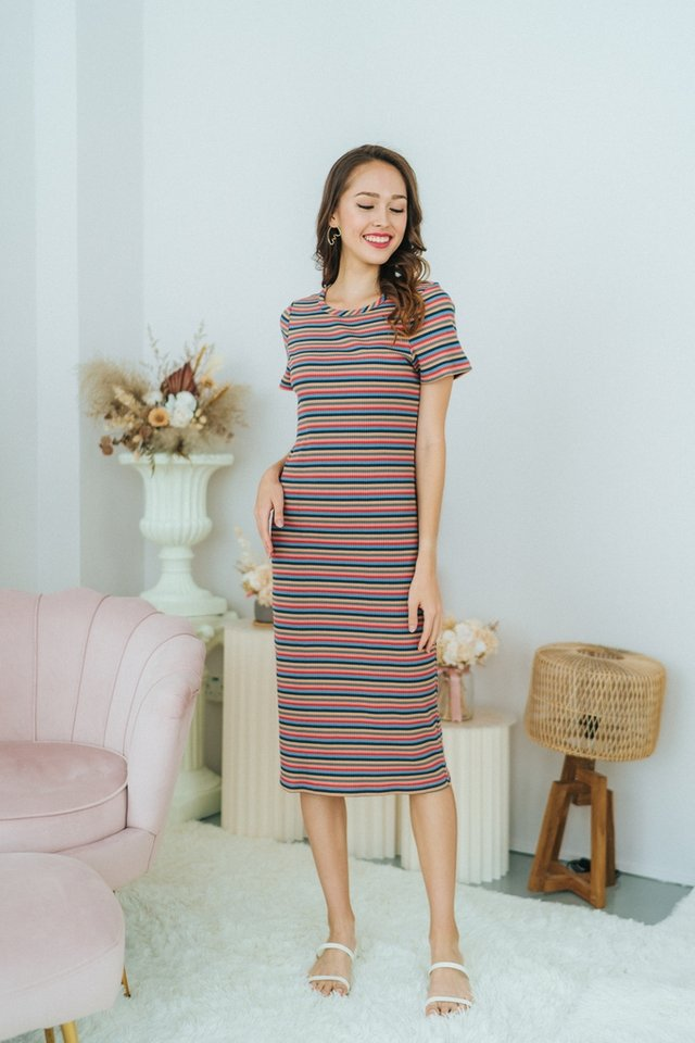 Viviana Rainbow Ribbed Midi Dress in Blue