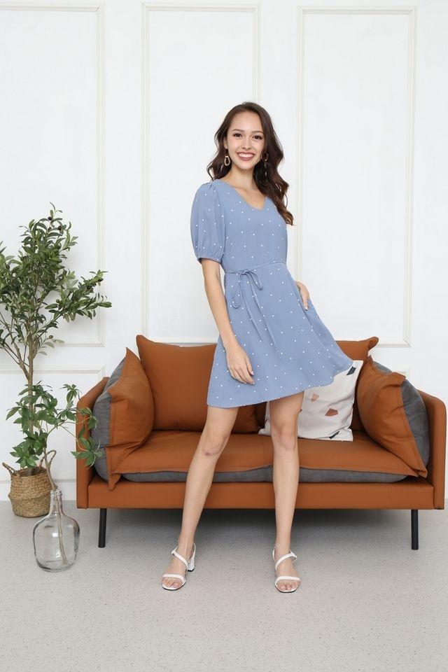 Edrea Polka Dot Puff Sleeve Dress in Blue