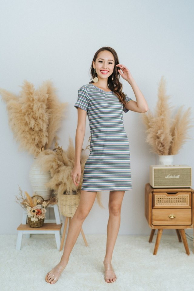 Marlena Rainbow Ribbed Dress in Lavender