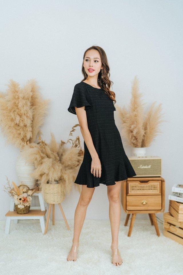 Ema Textured Dropwaist Ruffles Dress in Black