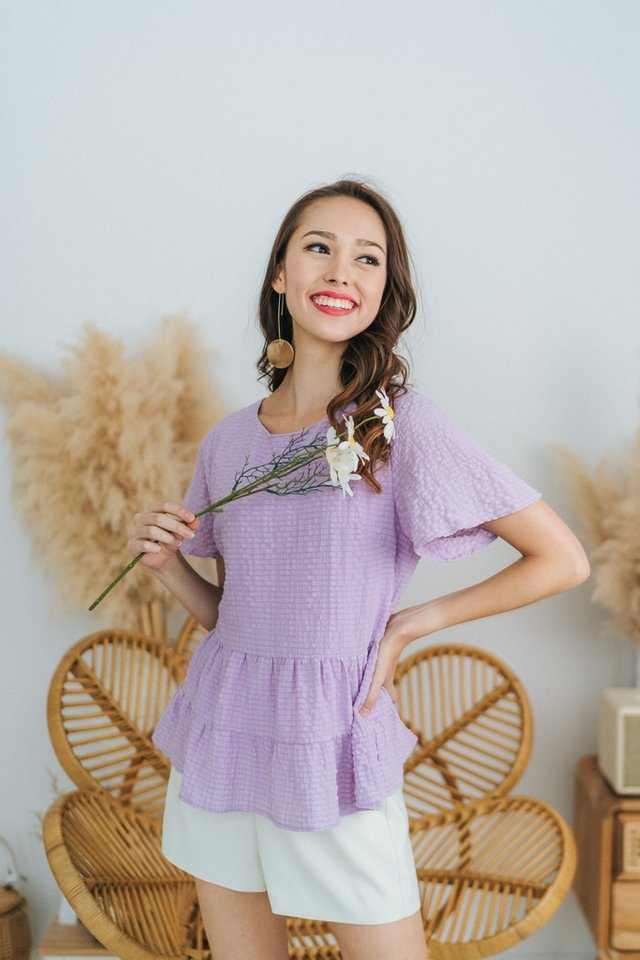 Leah Textured Babydoll Top in Lilac