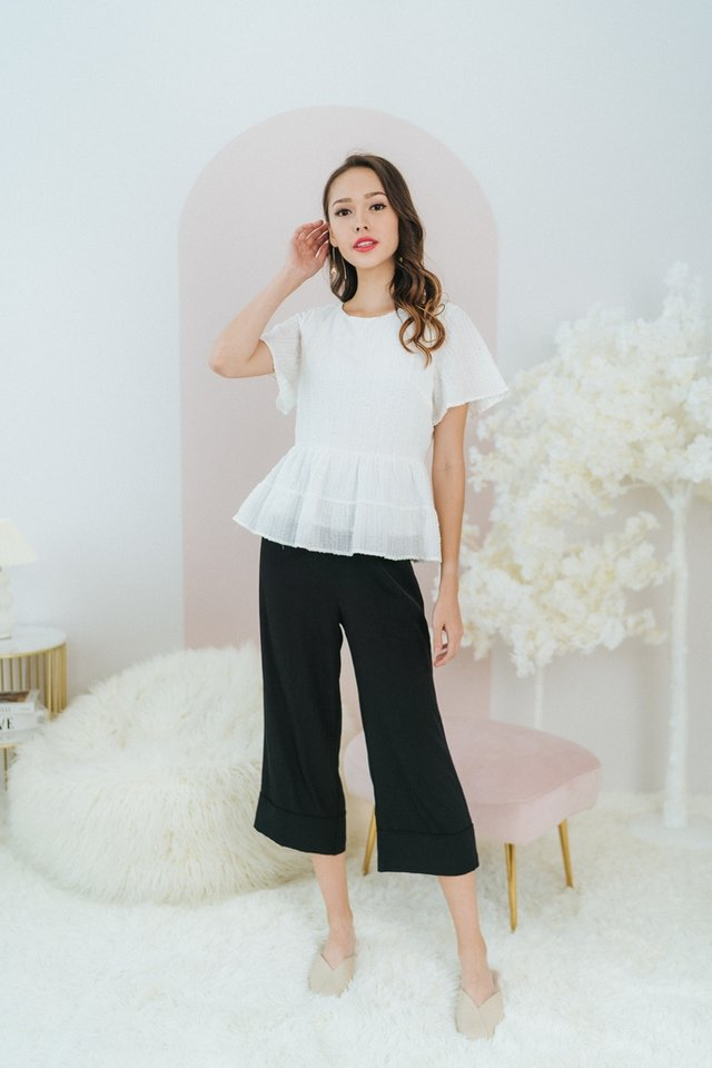 Leah Textured Babydoll Top in White