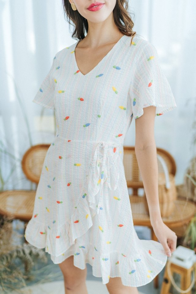Joy Carrot Embroidery Signature Ruffles Dress in White