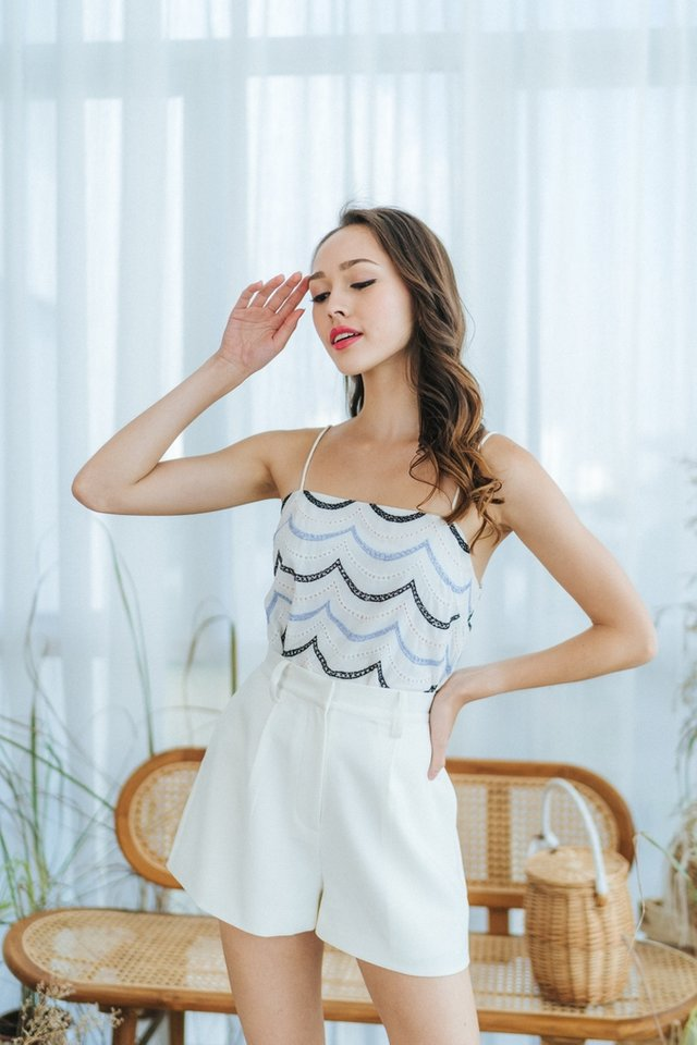 Vanna Scallop Eyelet Camisole Top in White