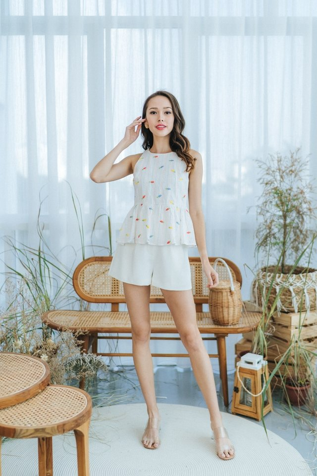 Candy Carrot Embroidery Babydoll Top in White