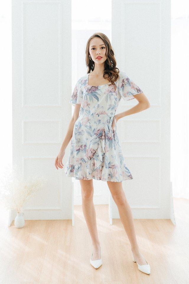 Yuna Floral Signature Ruffles Dress in White
