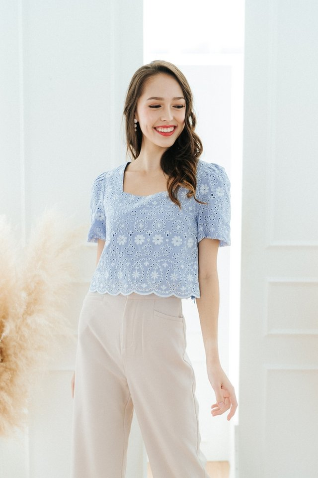 Janella Eyelet Puffed Sleeves Top in Cornflower Blue