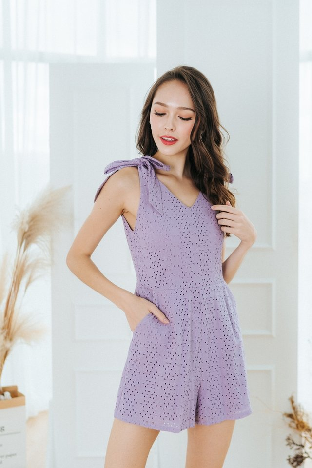 Jace Eyelet Ribbon Romper in Lilac
