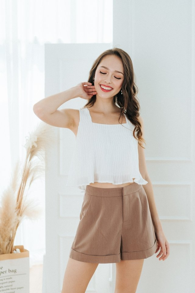 Reya Textured Pleats Top in White