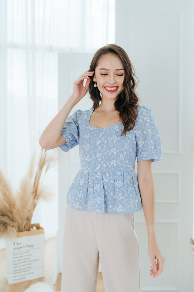 Rosaa Floral Embroidery Babydoll Top in Blue