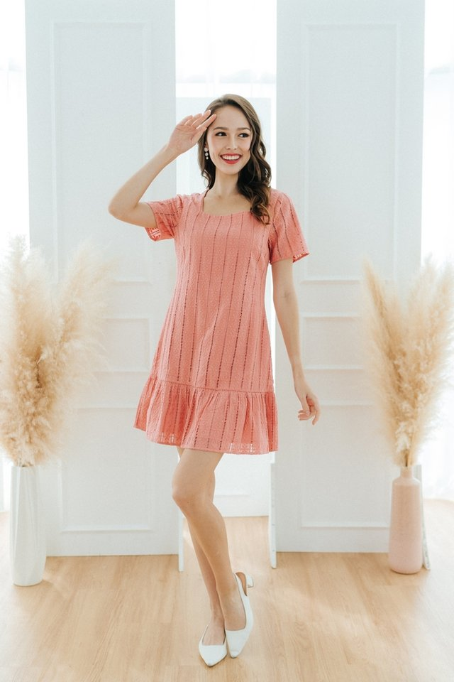 Gia Eyelet Dropwaist Dress in Coral