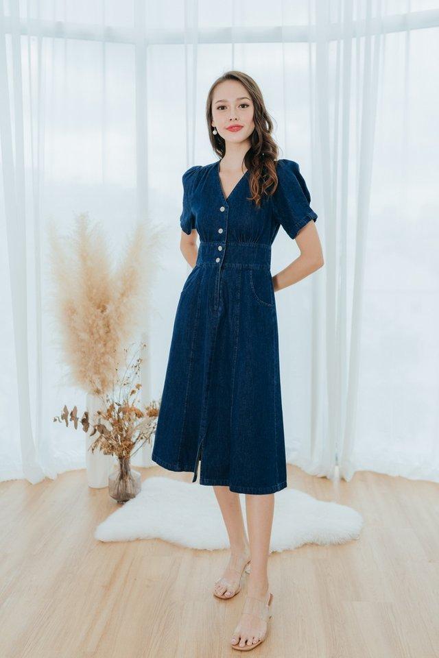 Ally Puffed Sleeves Denim Midi Dress in Dark Wash
