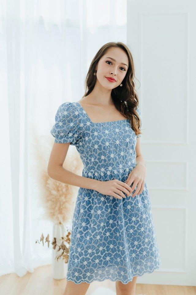 Lorraine Eyelet Puffed Sleeves Dress in Blue