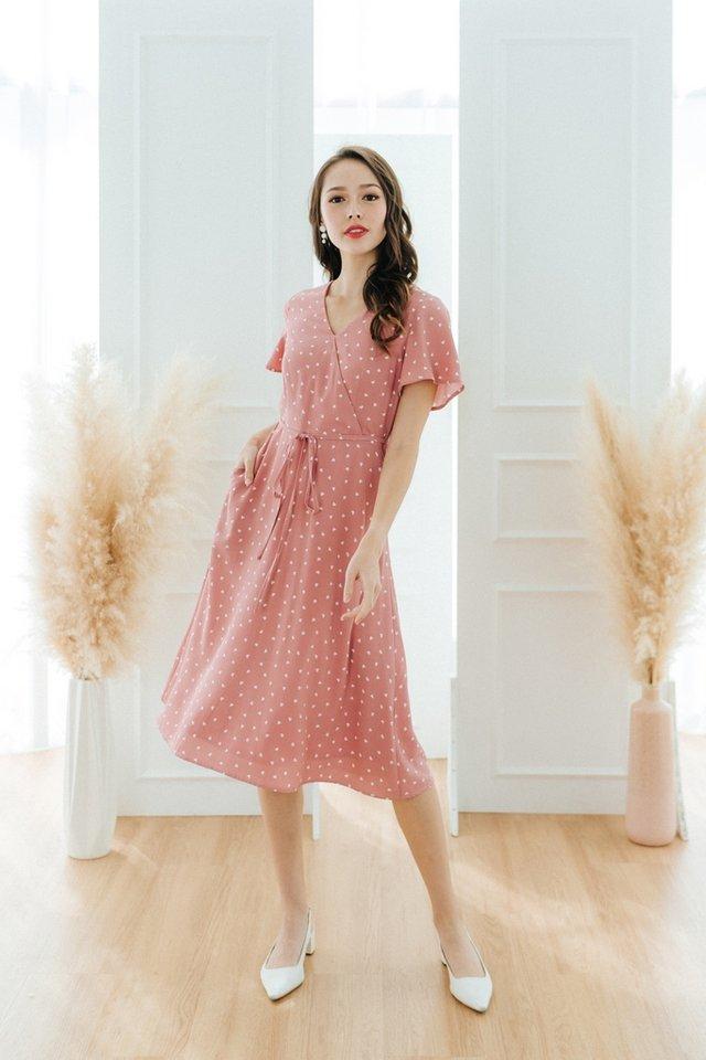Jayne Heart-Shaped Faux Wrap Midi Dress in Pink