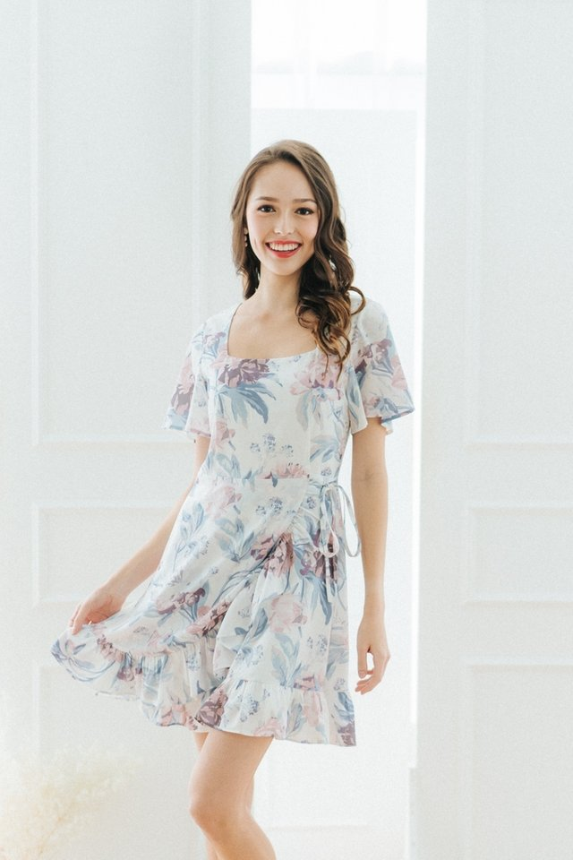 Yuna Floral Signature Ruffles Dress in White