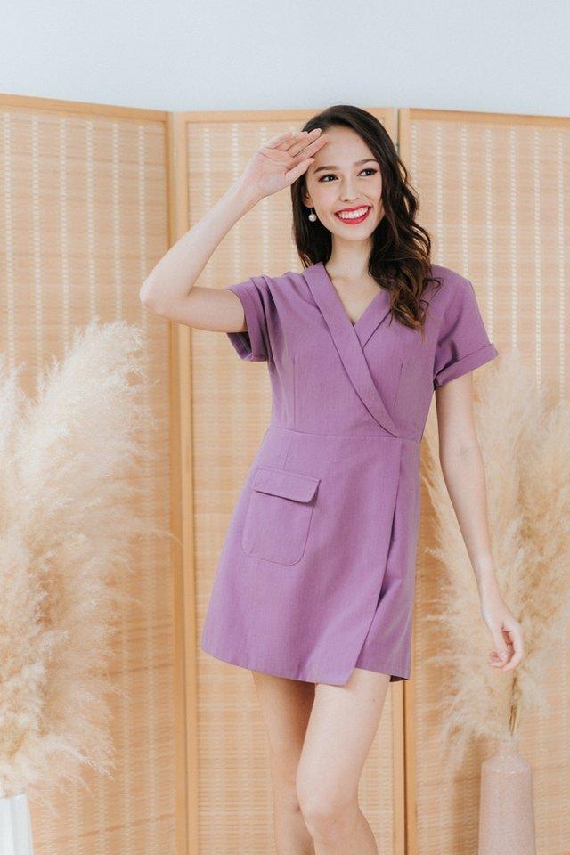Adeline Faux Wrap Romper in Purple