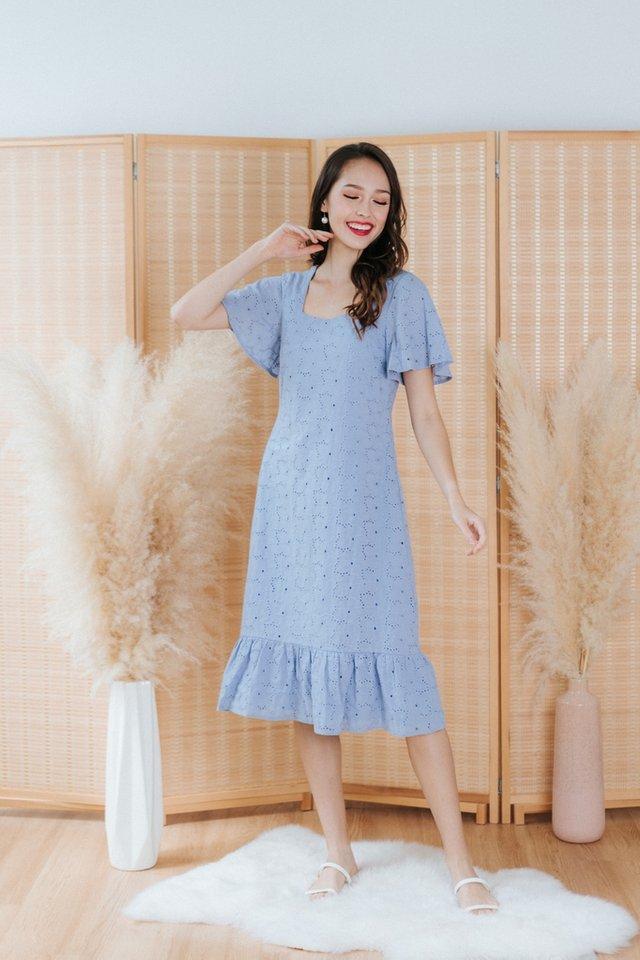 Adair Eyelet Dropwaist Midi Dress in Blue
