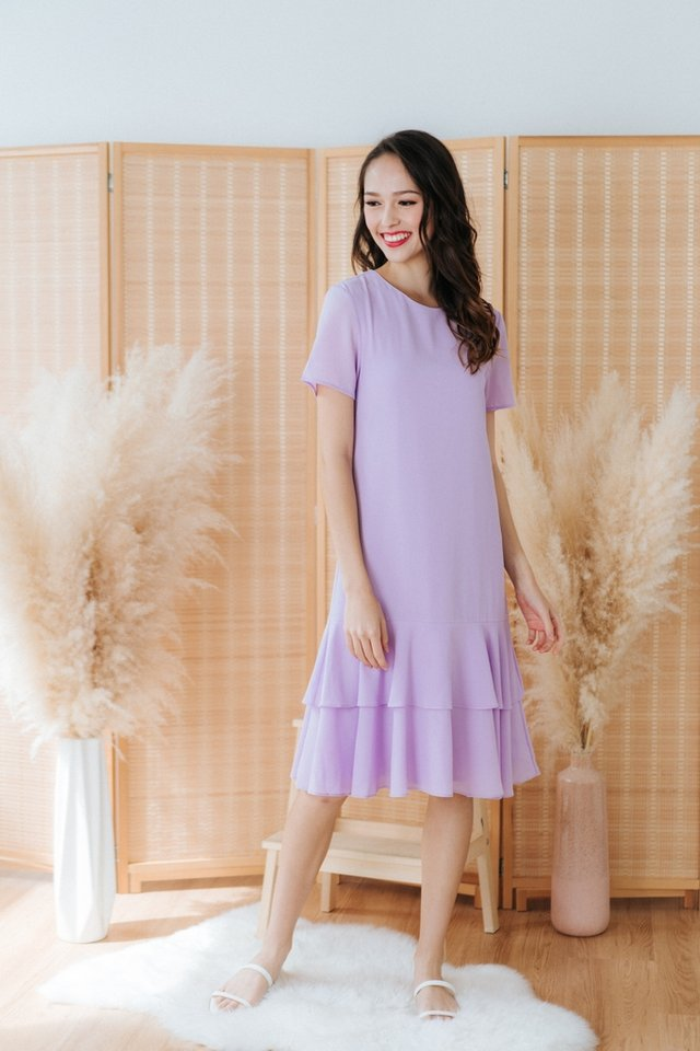 Isadora Tiered Hem Dress in Lavender