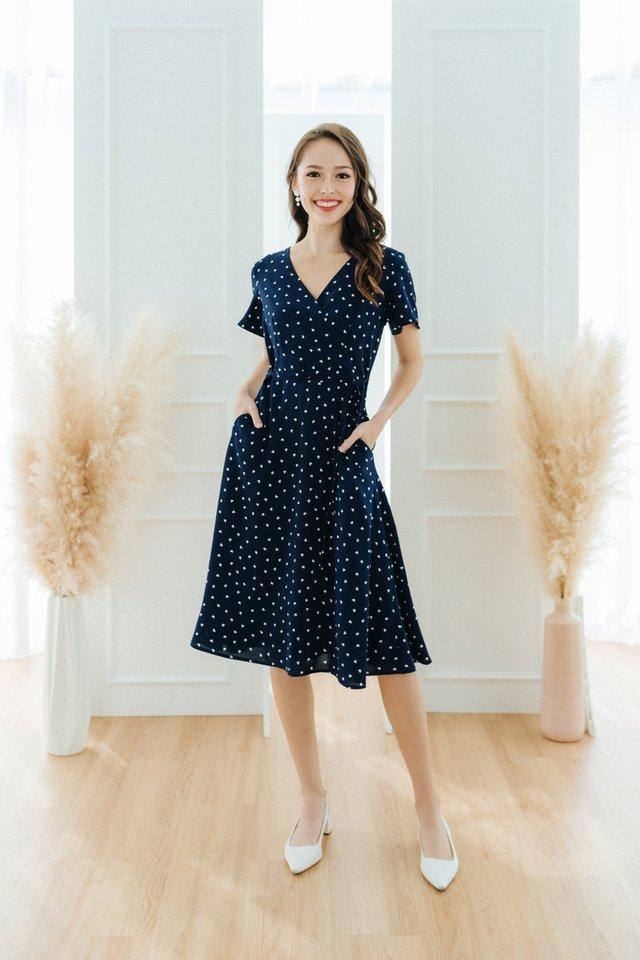 Jayne Heart-Shaped Faux Wrap Midi Dress in Navy