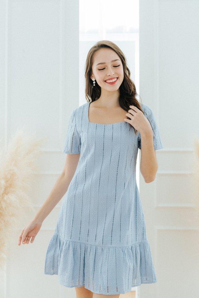 Gia Eyelet Dropwaist Dress in Blue
