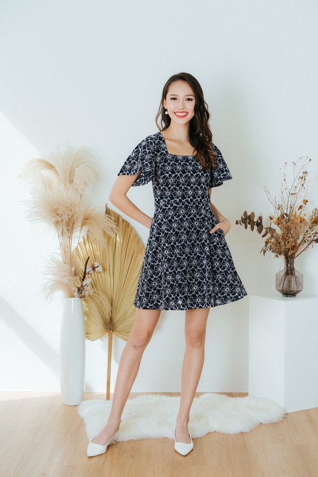 Jaela Square Neck Eyelet Dress in Navy