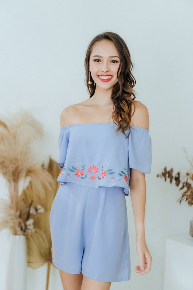 Ellery Floral Embroidery Off-Shoulder Romper in Blue