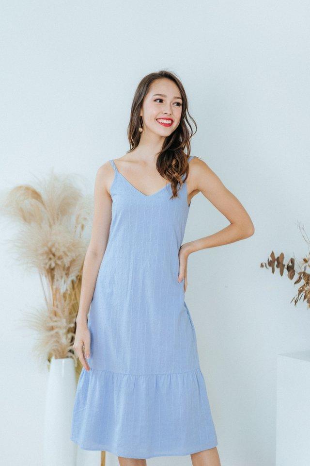 Alessia Textured Swiss Dot Ruffles Dress in Blue
