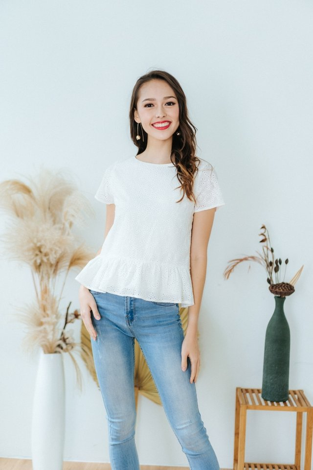 *BACKORDER* Shayna 2-Way Eyelet Ribbon Top in White