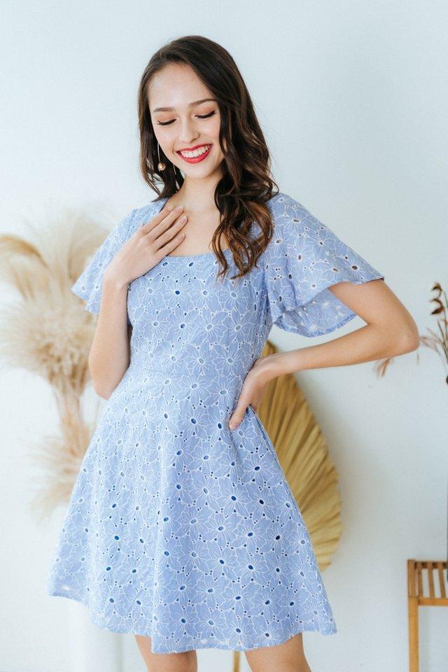 Jaela Square Neck Eyelet Dress in Powder Blue